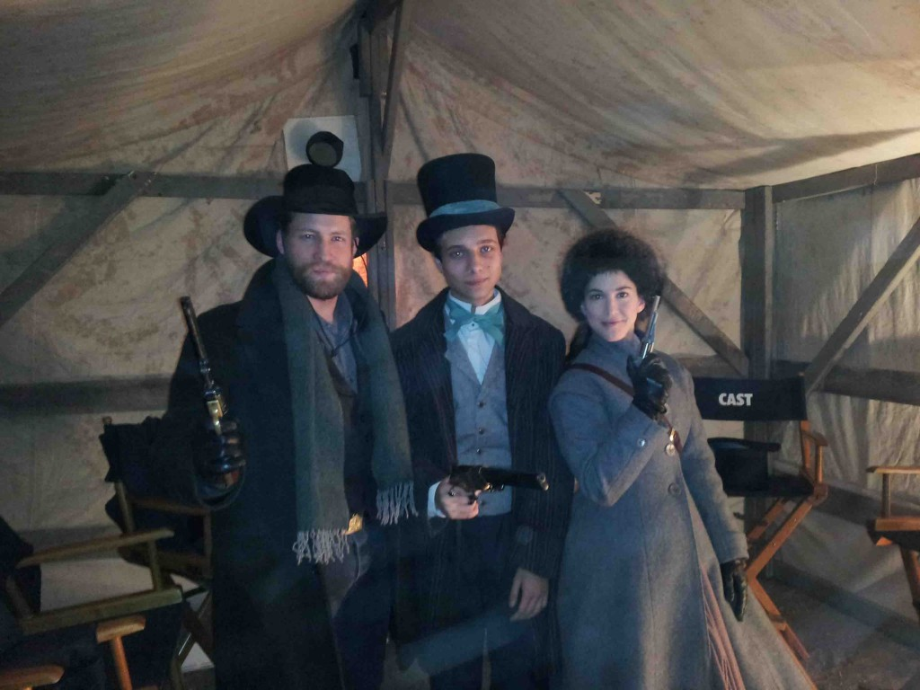 On set of The Pinkertons with Jacob Blair and Martha MacIsaac